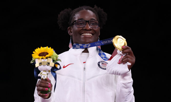 USA's Tamyra Mariama Mensah-Stock poses with her gold medal after the women's freestyle 68kg wrestling competition of the Tokyo 2020 Olympic Games at the Makuhari Messe in Tokyo on Aug. 3, 2021. (Jack Guez/AFP via Getty Images)
