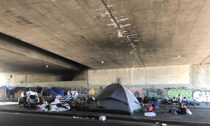 An encampment lines the sidewalk and median of Gower Street on Gower Street  in Los Angeles, Calif., in an undated photo. (David Zahniser/Los Angeles Times/TNS)