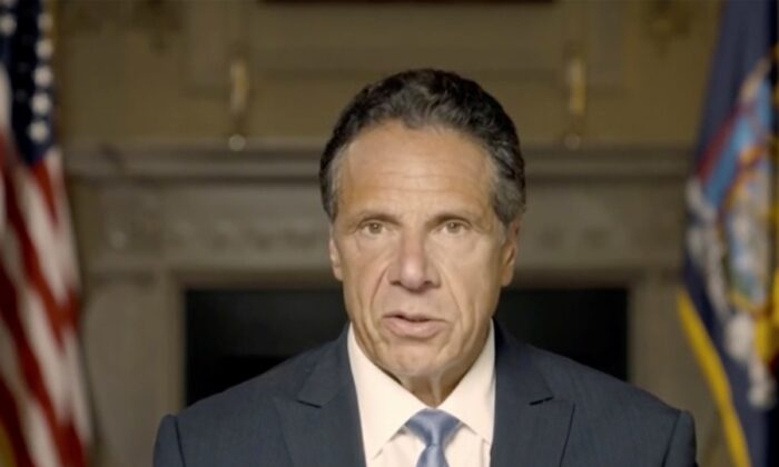 New York Gov. Andrew Cuomo makes a statement in this screen grab taken from a pre-recorded video released by Office of the NY Governor, in New York, on Aug. 3, 2021. (Office of Governor Andrew Cuomo via Reuters)