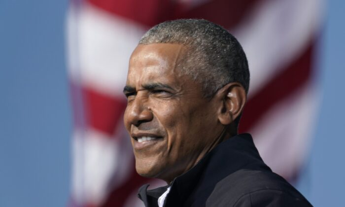 Former President Barack Obama speaks at a rally in Atlanta, Ga., on Nov. 2, 2020. (Brynn Anderson/AP Photo)