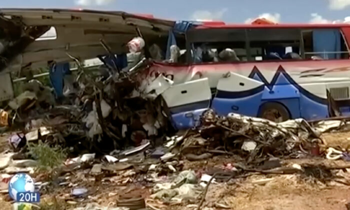 A damaged bus after a crash in Segou region, Mali, on Aug. 3, 2021. (ORTM via Reuters/Screenshot via NTD)