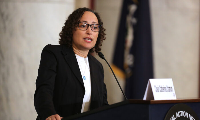 Catherine Lhamon addresses a meeting of Rev. Al Sharpton's National Action Network in Washington, DC., on Nov. 13, 2018. (Chip Somodevilla/Getty Images)