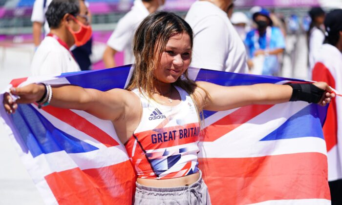 Great Britain's Sky Brown takes the bronze medal during the Women's Park Final at Ariake Sports Park on the Tokyo 2020 Olympic Games in Japan, on Aug. 4, 2021. (Adam Davy/PA)