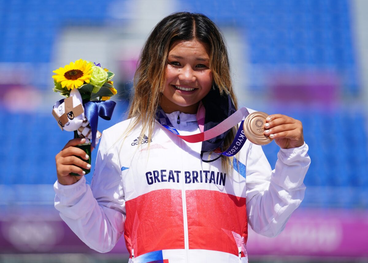 Great Britain's Sky Brown celebrates winning the bronze medal during the Women's Park Final at Ariake Sports Park on the twelfth day of the Tokyo 2020 Olympic Games in Japan