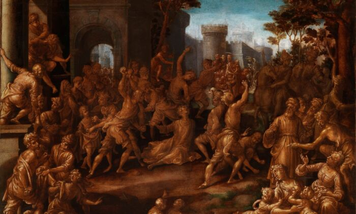 """Detail of """"The Stoning of Saint Stephen,"""" circa1602, byAurelio Lomi. Pen and ink with oil over chalk on four sheets of paper;37 3/16 inches by 30 11/16 inches.New Century Fund and The Ahmanson Foundation. National Gallery of Art, Washington. (National Gallery of Art)"""
