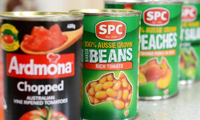 Assorted canned fruit and vegetables made by SPC Ardmona pictured in Brisbane, Australia, on Feb. 5, 2014. (AAP Image/Dan Peled)