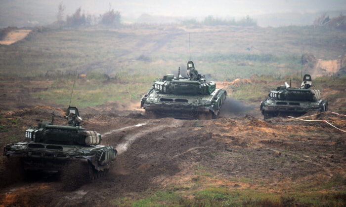 Tanks take part in the joint Russian-Belarusian military exercises Zapad-2017 (West-2017) at a training ground near the town of Borisov on Sept. 20, 2017. (Sergei Gapon/AFP via Getty Images)
