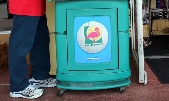 A lottery stand with the logo of the Florida Lottery in Hollywood, Fla., in a file photo. (Joe Raedle/Getty Images)