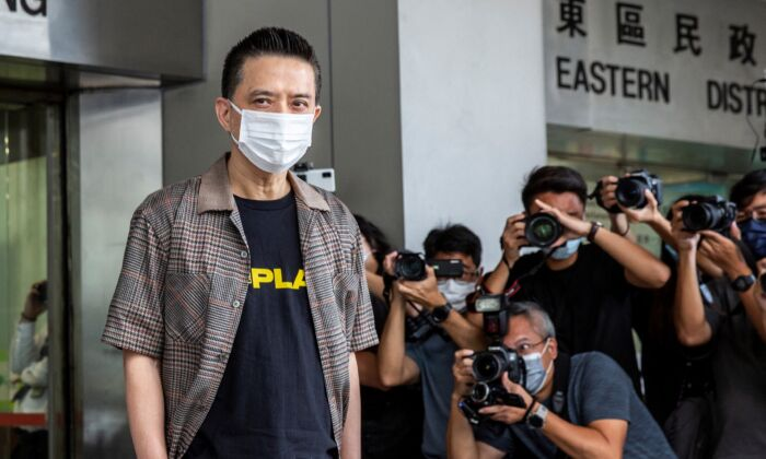 Hong Kong pro-democracy singer Anthony Wong arrives at eastern district court in Hong Kong on August 5, 2021. (Isaac Lawrence/AFP via Getty Images)