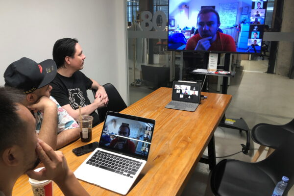 Hax's engineers discuss a prototype with the team from Unicorn Bio over a video call from their office in Shenzhen