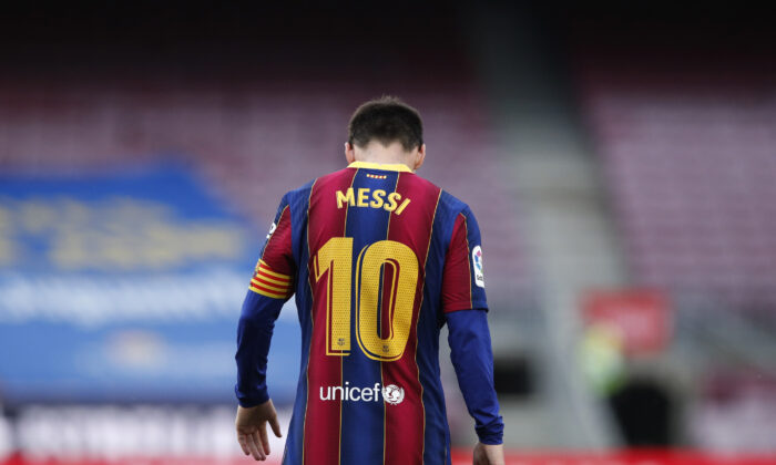 Barcelona's Lionel Messi during the La Liga Santander match between FC Barcelona and RC Celta at Camp Nou in Barcelona, Spain, on May 16, 2021. (Albert Gea/Reuters)