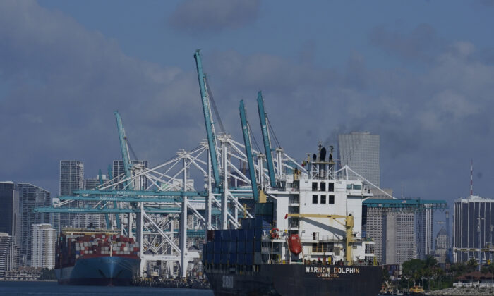 The Warnow-Dolphin container ship enters PortMiami, in Miami Beach, Fla., on April 29, 2021. (Marta Lavandier/AP Photo)