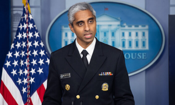 U.S. Surgeon General Dr. Vivek Murthy speaks during a press briefing in the Brady Briefing Room of the White House on July 15, 2021. (Saul Loeb/AFP via Getty Images)