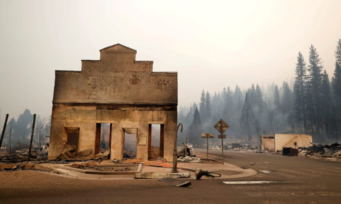 View of a burned out commercial building following the Dixie Fire, a wildfire that tore through the town of Greenville, Calif., on Aug. 5, 2021. (Fred Greaves/Reuters)