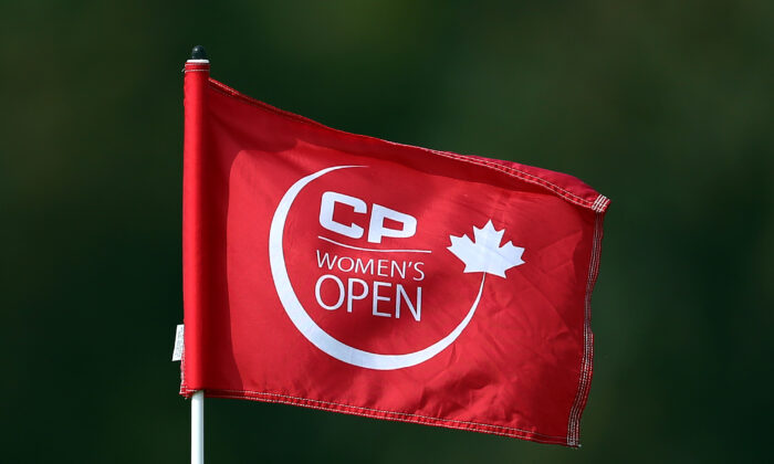 CP Womens Open flag on the 16th green during the third round of the CP Womens Open at the Wascana Country Club in Regina, Canada, on Aug. 25, 2018. (Vaughn Ridley/Getty Images)