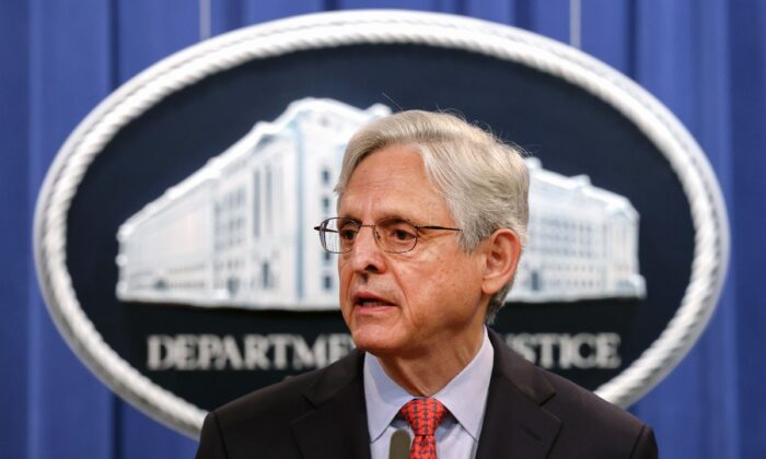 Attorney General Merrick Garland makes remarks at a press conference at the Department of Justice in Washington on Aug. 5, 2021. (Kevin Dietsch/Getty Images)