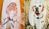 Photos: Artist Paints Amazing Photos of Birds and Pets on Feathers