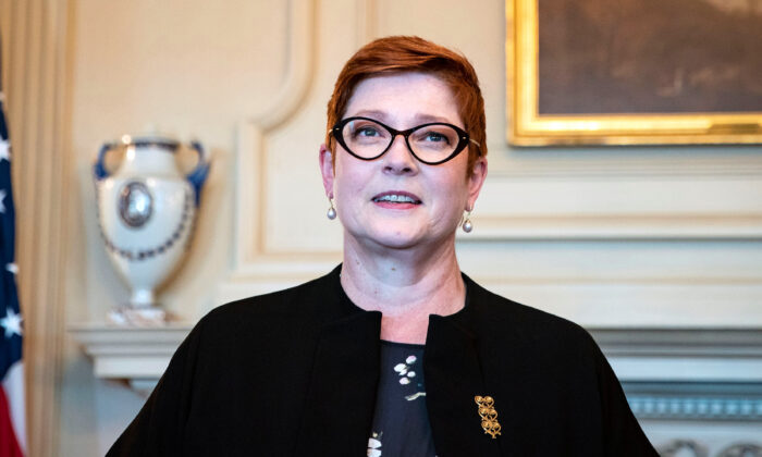 Australia's Foreign Minister Marise Payne at the State Department in Washington, on July 27, 2020. (Al Drago/Reuters)