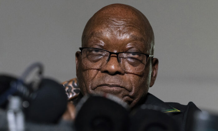 Former president Jacob Zuma addresses the press at his home in Nkandla, KwaZulu-Natal Province, South Africa. Zuma has been admitted to hospital for observation at a hospital outside the Estcourt Correctional Center where he is currently serving a 15-month jail sentence, the government announced on Aug. 6 2021. (Shiraaz Mohamed, File/AP Photo)
