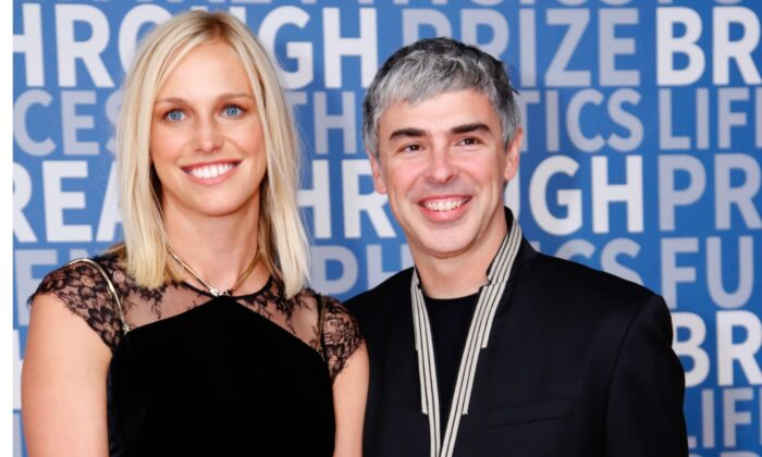 CEO of Alphabet Larry Page (R) and his wife, Dr. Lucinda Southworth,  attend the 2017 Breakthrough Prize at NASA Ames Research Center in Mountain View, Calif., on Dec. 4, 2016. (Kimberly White/Getty Images for Breakthrough Prize)