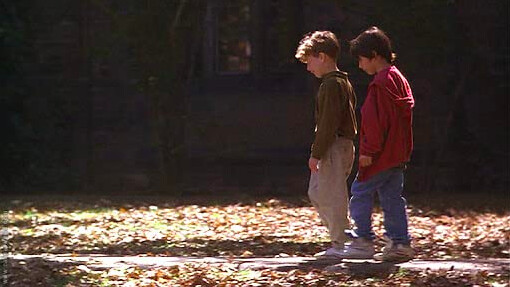 two young boys go for a walk in SEARCHING FOR BOBBY FISCHER