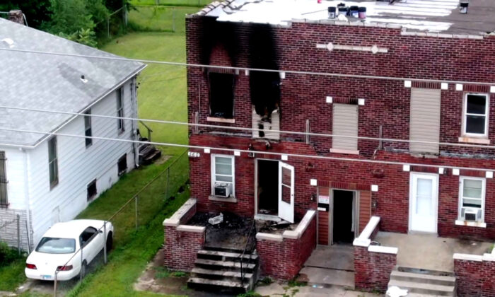 The scene of a fire in East St. Louis, Ill., is seen in this screengrab taken from footage by KMOV on Aug. 6, 2021. (Courtesy of KMOV)
