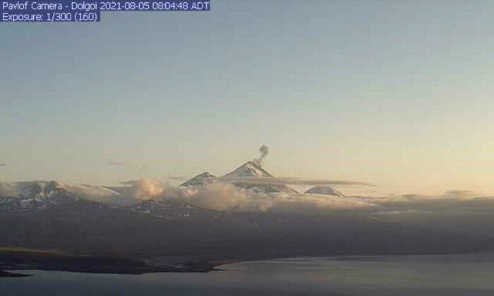 In this webcam image, is the Pavlof Volcano in a state of eruption with episodic low-level ash emissions, on Aug. 5, 2021. (Alaska Volcano Observatory via AP)