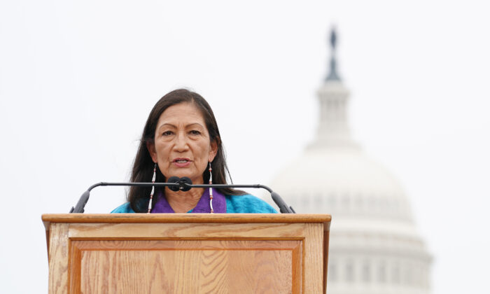 Secretary of the Interior Deb Haaland speaks at an event in Washington on July 29, 2021. (Jemal Countess/Getty Images for Native Organizers Alliance)