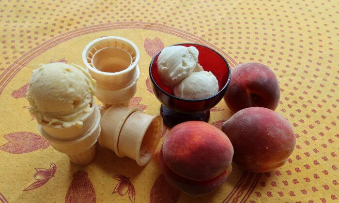Homemade peach (L) and vanilla ice cream. (Linda Joyce Forristal)