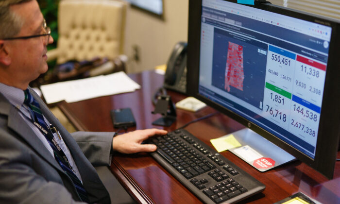 Scott Harris, Alabama's State Health Officer, discusses his state's vaccination data in his office in Montgomery, Ala., on June 29, 2021.(Elijah Nouvelage/AFP/Getty Images)