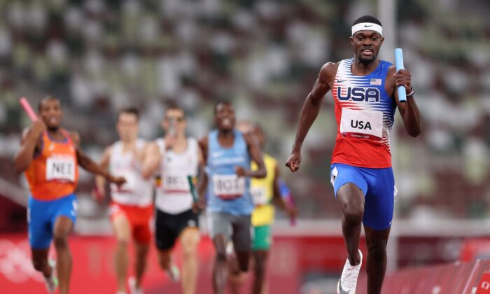 Rai Benjamin of Team USA competes in the Men's 4 x 400m Relay Final on day fifteen of the Tokyo 2020 Olympic Games at Olympic Stadium in Tokyo, Japan, on Aug. 7, 2021. (Patrick Smith/Getty Images)