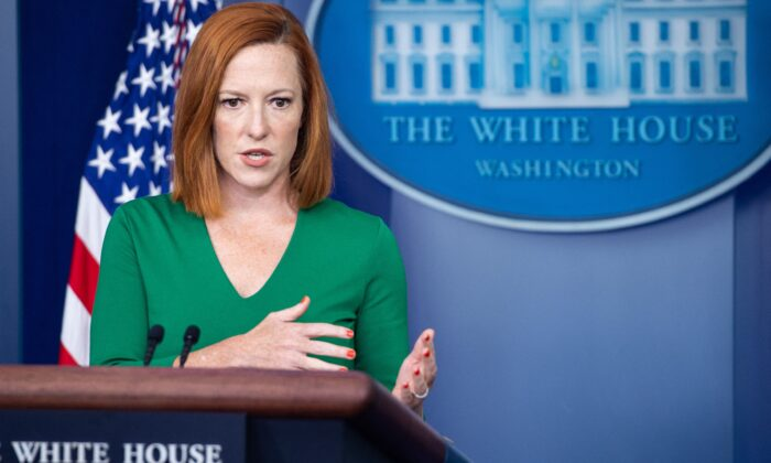 White House Press Secretary Jen Psaki speaks during the daily press briefing in the Brady Briefing Room of the White House in Washington on Aug. 6, 2021. (Saul Loeb/AFP via Getty Images)