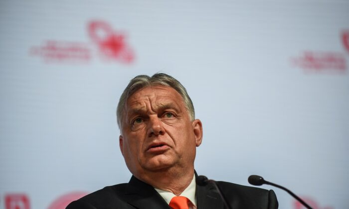 The Prime Minister of Hungary, Viktor Orbán, speaks at the press conference during a Heads of State meeting of the Visegrad group at the International Congress Center in Katowice, Poland on June 30, 2021. (Omar Marques/Getty Images)