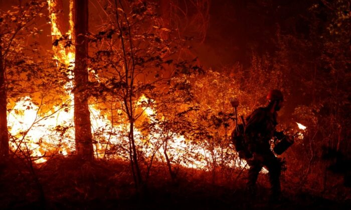 U.S. Forest Service firefighter Ben Foley lights backfires to slow the spread of the Dixie Fire, a wildfire near the town of Greenville, Calif., on Aug. 6, 2021. (Fred Greaves/Reuters)
