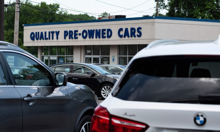 A used car dealership in Annapolis, Maryland, on May 27, 2021. (Jim Watson/AFP via Getty Images)