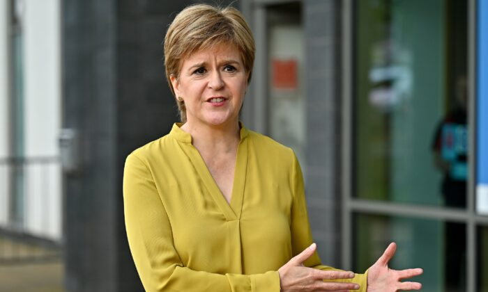 First Minister Nicola Sturgeon visiting Barrhead Foundry vaccination centre near Glasgow in Scotland on Aug. 9, 2021. (Jeff J Mitchell/PA)