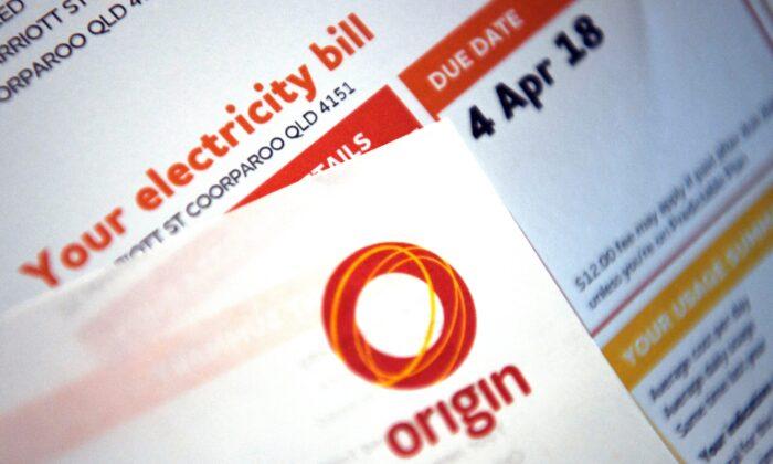An Origin Energy power bill is pictured in Brisbane, Australia on June 8, 2018. (AAP Image/Dan Peled)