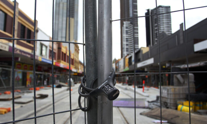 A tram construction site is closed during COVID-19 lockdown in the central business district of Parramatta in Sydney, Australia, on July 31, 2021. (Lisa Maree Williams/Getty Images)