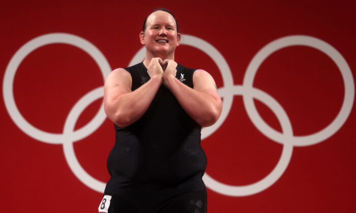 Laurel Hubbard of Team New Zealand competes during the Weightlifting - Women's 87kg+ Group A on day ten of the Tokyo 2020 Olympic Games at Tokyo International Forum on August 02, 2021 in Tokyo, Japan. (Photo by Chris Graythen/Getty Images)