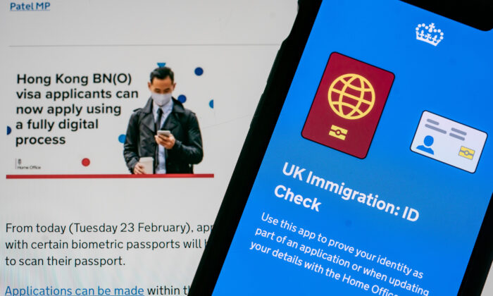 The UK government launched a fully digital process for Hong Kong BN(O) visa applicants, enabling those with certain biometric passports to apply from a smartphone app, on Feb. 23, 2021. (Anthony Kwan/Getty Images)