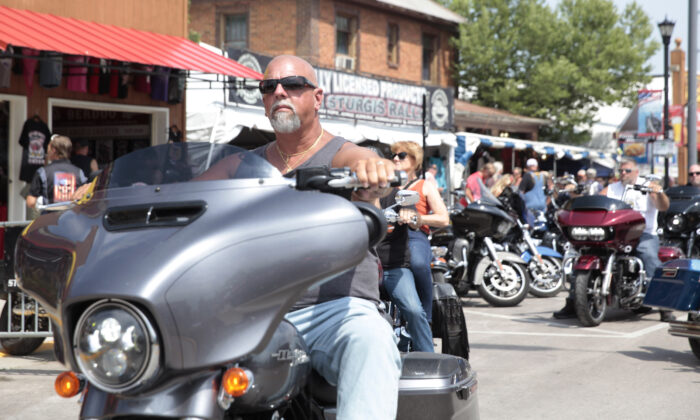 Motorcycles fill the streets of Sturgis, S.D., on Aug. 6, 2021. (Stephen Groves/AP Photo)