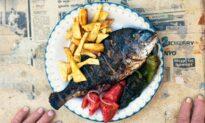 Yiayia Anastasia's Greek Marinated Sea Bream, Greek Salad, and Garlic Dip (Skordalia)