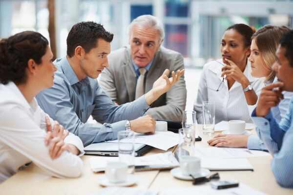 A stock photo of a corporate business meeting