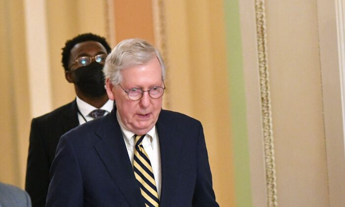 Senate Minority Leader Mitch McConnell (R-Ky.) is seen in Washington on Aug. 7, 2021. (Mandel Ngan/AFP via Getty Images)