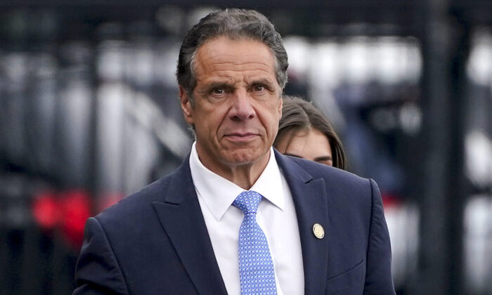 New York Gov. Andrew Cuomo prepares to board a helicopter after announcing his resignation, in New York City, on Aug. 10, 2021. (Seth Wenig/AP Photo)