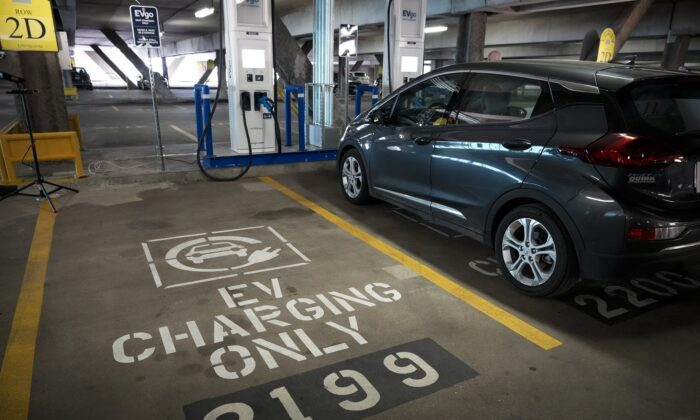 An electric vehicle charging station in Washington on April 22, 2021. (Drew Angerer/Getty Images)