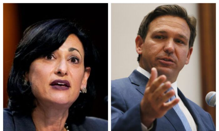 Dr. Rochelle Walensky, director of the Centers for Disease Control and Prevention, and Florida Gov. Ron DeSantis (Susan Walsh/Pool via Reuters) (Joe Raedle/Getty Images)