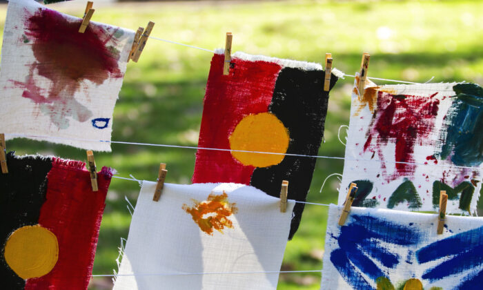 Artworks painted by children on the day are displayed at Hyde Park in Sydney, Australia, on July 13, 2019. (Jenny Evans/Getty Images)