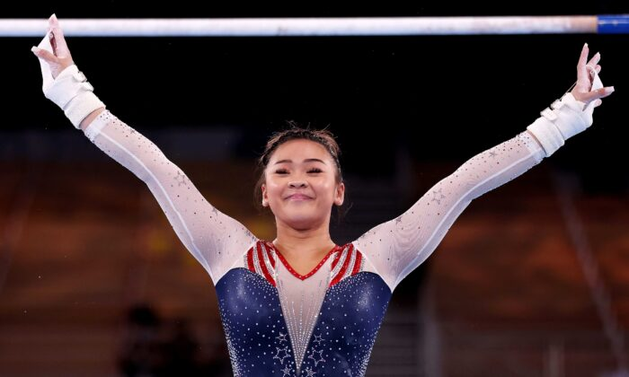 Sunisa Lee of Team United States reacts after competing on uneven bars during the Women's All-Around Final on day six of the Tokyo 2020 Olympic Games at Ariake Gymnastics Centre in Tokyo, Japan, on July 29, 2021. (Jamie Squire/Getty Images)