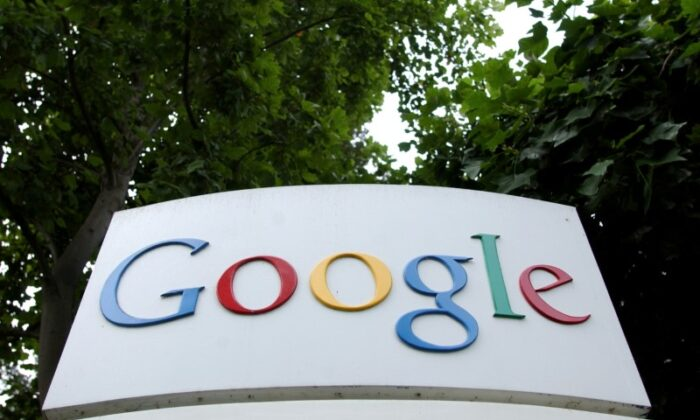 The Google logo is seen outside their headquarters in Mountain View, Calif., on Aug. 18, 2004. (Clay McLachlan/Reuters)